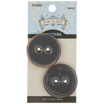 Gray Round Coconut Buttons - 34mm