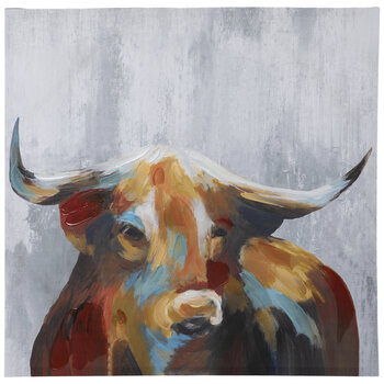Painted Bull Canvas Wall Decor