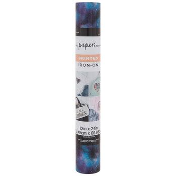 Purple & Blue Galaxy Printed Iron-On Vinyl