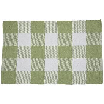 Green & White Buffalo Check Rug