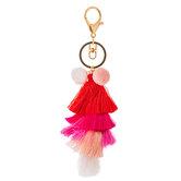 Pink Layered Tassel Keychain