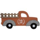 Orange Hello Fall Truck Wood Decor
