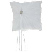 White Gathered Rhinestone Ring Pillow