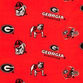 Georgia Allover Collegiate Fleece Fabric