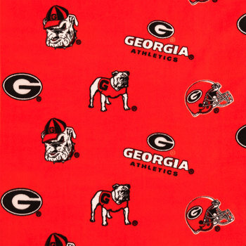 Georgia Allover Collegiate Fleece Fabric