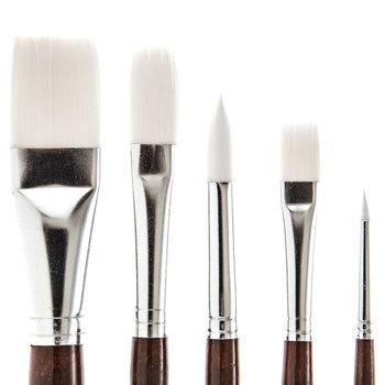 White Nylon Paint Brushes - 5 Piece Set