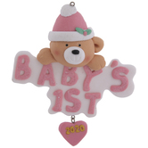 Pink Bear Baby's First Christmas Ornament