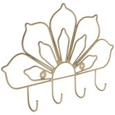 Gold Floral Metal Wall Decor With Hooks