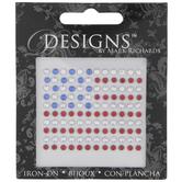 American Flag Rhinestone Iron-On Applique