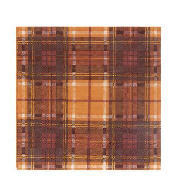 Orange & Brown Plaid Napkins - Large