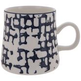 White & Blue Abstract Plaid Mug