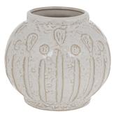 White & Brown Textured Round Vase