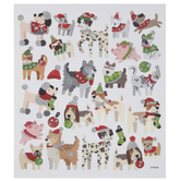 Christmas Pets With Silver Glitter Stickers