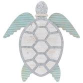 White & Turquoise Sea Turtle Wood Wall Decor