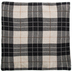 Dark Gray & Ivory Plaid Knitted Pillow Cover