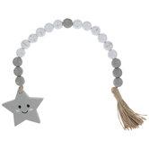Gray & White Smiling Star Beaded Garland