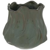 Green & Brown Ridged Vase