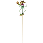 Frog With Pink Bowtie Metal Garden Pick