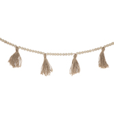 Wood Bead & Jute Tassel Garland