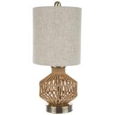 Beige & Brown Woven Rope Lamp