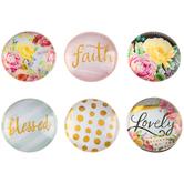Faith Floral Glass Magnets