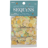 Gold Round, Flat & Square Sequins