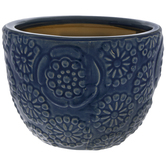 Blue Floral Flower Pot