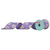 "Purple, Pink & Yellow Daisy Burlap Wired Edge Ribbon - 2 1/2"""