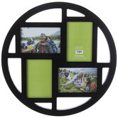 Black Round Wood Collage Wall Frame