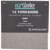 "Gray 14-Count Yorkshire Cross Stitch Fabric - 11 3/4"" x 18"""