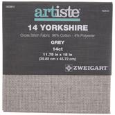"Grey 14-Count Yorkshire Cross Stitch Fabric - 11 3/4"" x 18"""