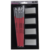Body Art Paintbrushes & Sponges - 10 Piece Set