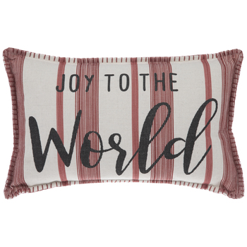 Joy To The World Striped Pillow