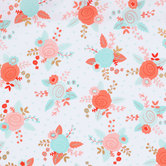 White & Pastel Floral Apparel Fabric