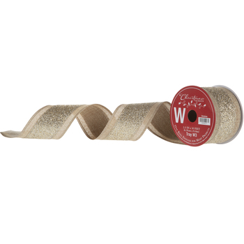"Gold Glitter Stripe Wired Edge Woven Ribbon - 2 1/2"""