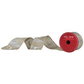 "Silver Reindeer Wired Edge Burlap Ribbon - 2 3/8"""