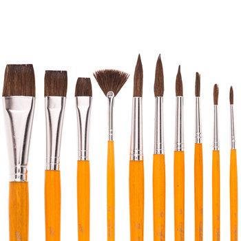 Camel Paint Brushes - 10 Piece Set