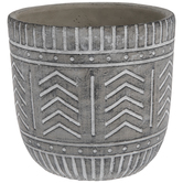 Gray & White Geometric Flower Pot