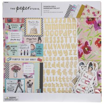 "Elle Oh Elle 12/"" X 12/"" Scrapbook Kit by Paper Studio Fashion Girl Scrapbooking"