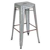 Square Galvanized Metal Stool