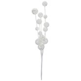 White Flocked Glitter Balls Pick