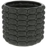 Green Round Ridged Vase