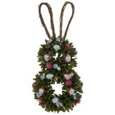 Flowers & Eggs Bunny Wood Wreath