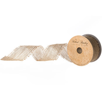 """Natural Jute Wired Edge Ribbon With Fringe - 2 1/2"""""""