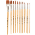 Brown Nylon Paint Brushes - 12 Piece Set