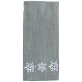 Gray & White Snowflake Kitchen Towel