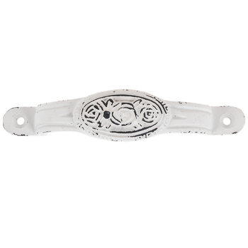White Distressed Flower Metal Pull