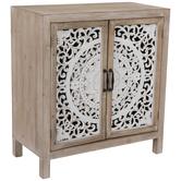 Whitewash Medallion Wood Cabinet