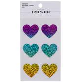 Iridescent Rainbow Heart Iron-On Appliques