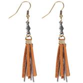 Leather & Metal Tassel Earrings
